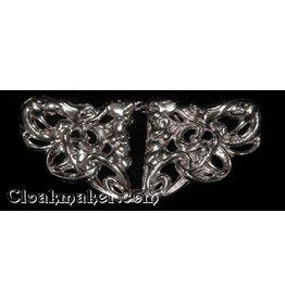 Art Deco Gecko Salamanders Cloak Clasp - Silver Tone Plated