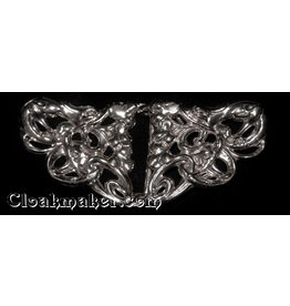 Cloak and Dagger Creations Art Deco Gecko Salamanders Cloak Clasp - Silver Tone Plated
