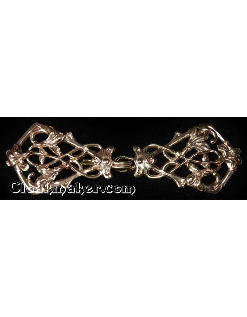 Cloak and Dagger Creations Art Deco Vine  Cloak Clasp- Bronze