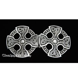Celtic Cross Cloak Clasp - Pewter