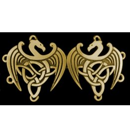 Celtic Dragons Cloak Clasp - Jewelers Bronze