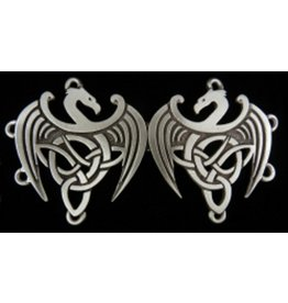 Celtic Dragons Cloak Clasp - Pewter