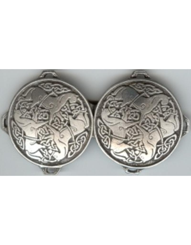 Cloak and Dagger Creations Celtic Horse Medallion, Large Cloak Clasp - Pewter