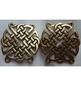 Celtic Knot Round Cloak Clasp - Antique Bronze Tone Plated