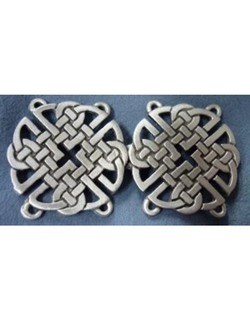 Cloak and Dagger Creations Celtic Knot Round Cloak Clasp - Pewter