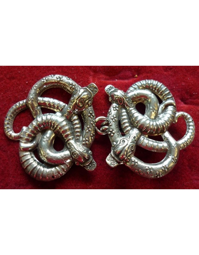 Cloak and Dagger Creations Celtic Snakes Large Cloak Clasp - Silver Tone Plated