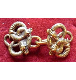 Celtic Snakes, Small Cloak Clasp - Jewelers Bronze