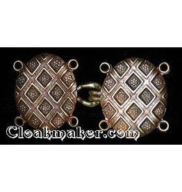 Diamond Shield Cloak Clasp - Antique Bronze Tone Plated