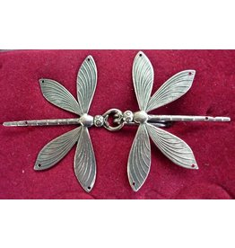 Dragonfly Double Cloak Clasp - Silver Tone Plated
