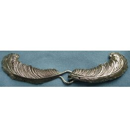 Feather Plumes Cloak Clasp - Silver Tone Plated