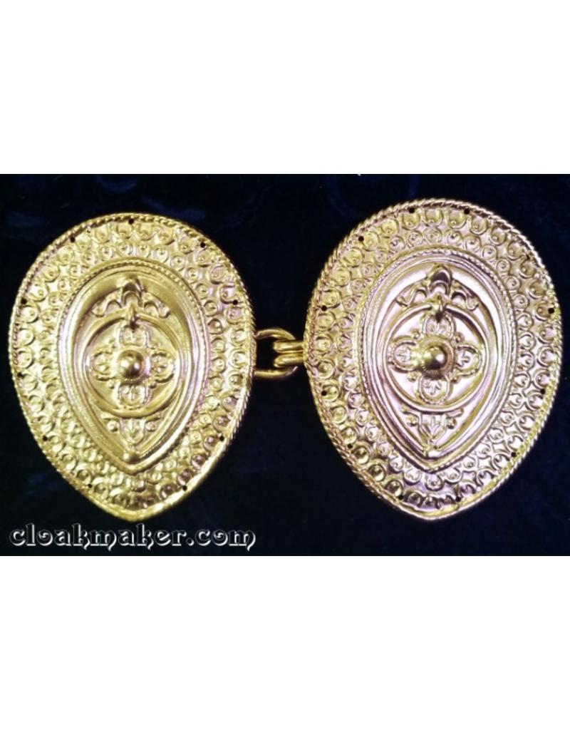 Cloak and Dagger Creations Etruscan Cloak Clasp - Gold Tone Plated