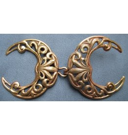 Cloak and Dagger Creations Filigree Crescent Moon Cloak Clasp - Jewelers Bronze