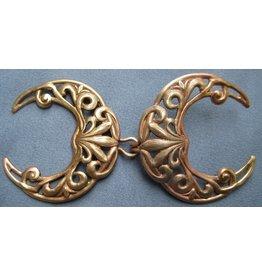 Filigree Crescent Moon Cloak Clasp - Jewelers Bronze