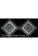 Cloak and Dagger Creations Filigree Diamond Floral Cloak Clasp - Silver Tone Plated
