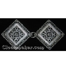 Filigree Diamond Floral Cloak Clasp - Silver Tone Plated