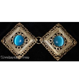 Filigree Diamond w /Large Blue Glass Cloak Clasp - Jewelers Bronze