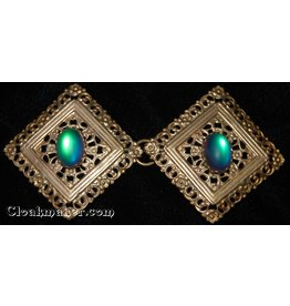 Filigree Diamond w/ Rainbow Glass Cloak Clasp - Jewelers Bronze