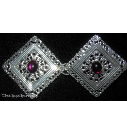 Cloak and Dagger Creations Filigree Diamond w/ Small Purple Glass Cloak Clasp - Silver Tone Plated