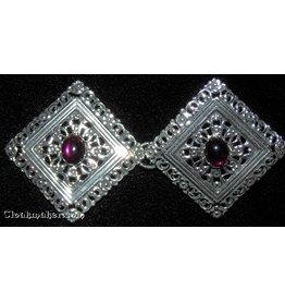 Filigree Diamond w/ Small Purple Glass Cloak Clasp - Silver Tone Plated