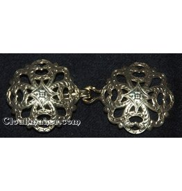 Cloak and Dagger Creations Filigree Quatrefoil Cloak Clasp - Antique Gold Tone Plated