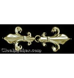 Cloak and Dagger Creations Fleur de Lis Classic Cloak Clasp - Gold Tone Plated