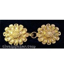 Cloak and Dagger Creations Floral Oval Cloak Clasp - Horizontal - Jewelers Bronze