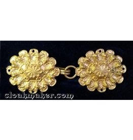 Floral Oval Cloak Clasp - Horizontal - Jewelers Bronze