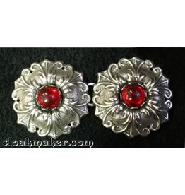 Flowers - Medium with Red Glass Cloak Clasp - Silver Tone Plated