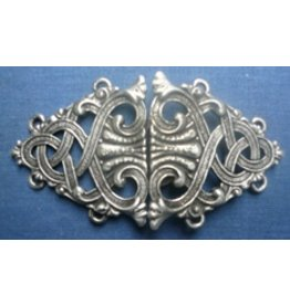 Formal Renaissance Knotwork Cloak Clasp - Pewter