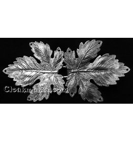 Grape Leaves Cloak Clasp - Silver Tone Plated