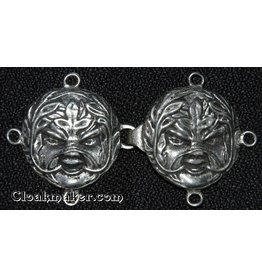 Cloak and Dagger Creations Green Man Cloak Clasp - Pewter