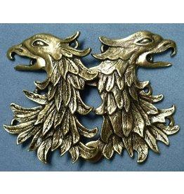 Cloak and Dagger Creations Griffon Head / Double Eagle Cloak Clasp - Antique Bronze Tone Plated