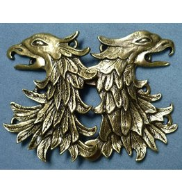 Griffon Head / Double Eagle Cloak Clasp - Antique Bronze Tone Plated