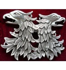 Griffon Head / Double Eagle Cloak Clasp - Pewter