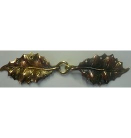 Cloak and Dagger Creations Holly Leaves Cloak Clasp - Jewelers Bronze