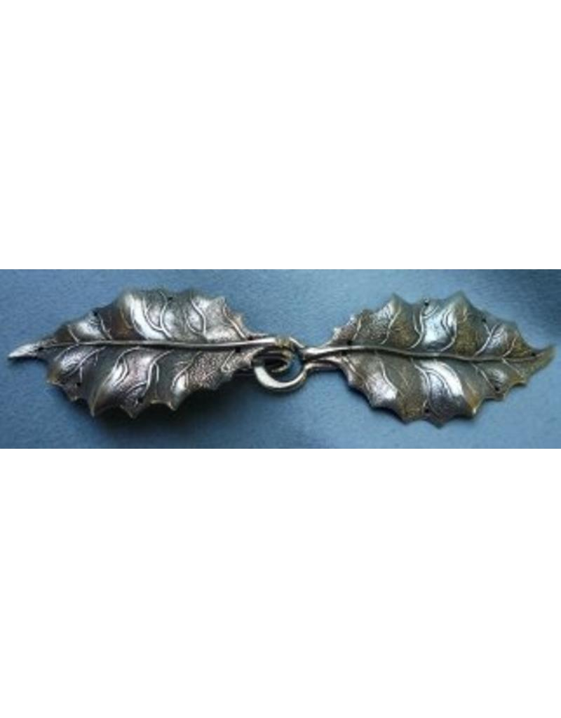 Cloak and Dagger Creations Holly Leaves Cloak Clasp - Silver Tone Plated