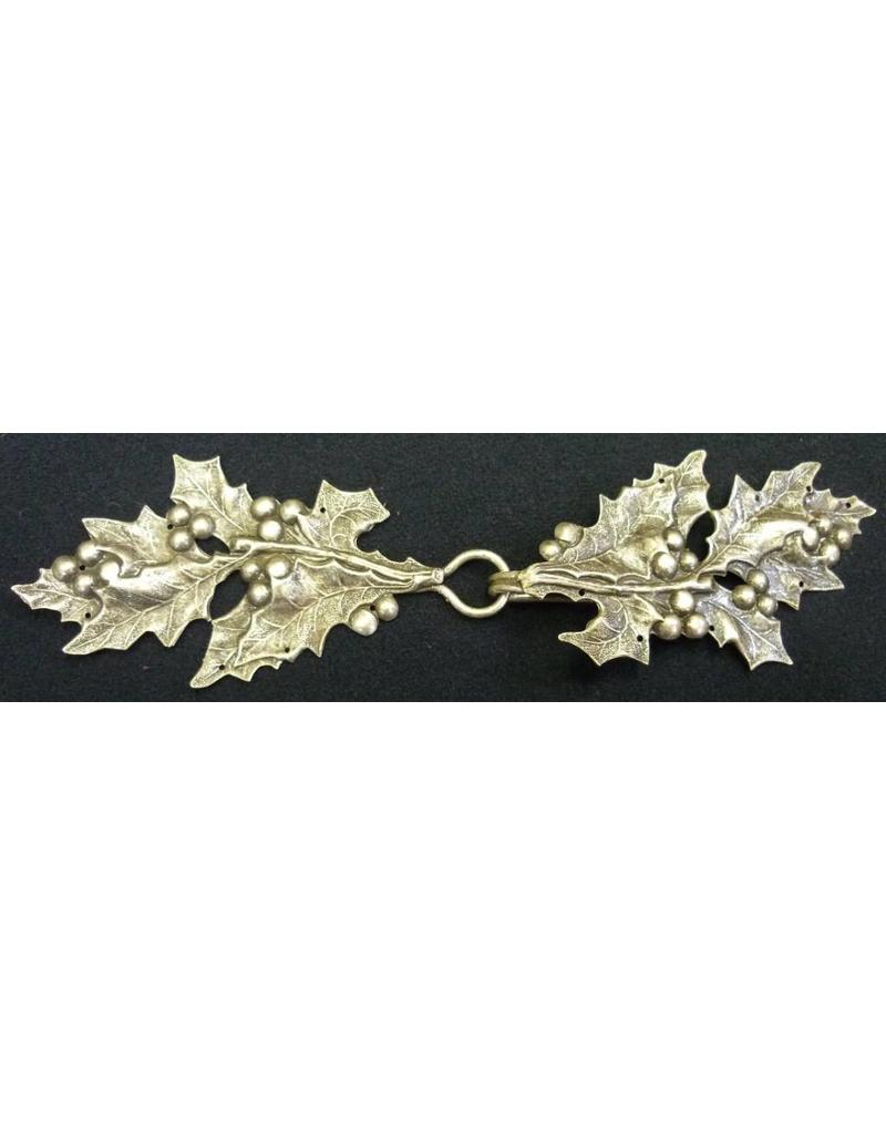 Cloak and Dagger Creations Holly Sprig with Berries Cloak Clasp - Silver Tone Plated