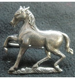 Horse, Prancing Cloak Clasp - Silver Tone Plated