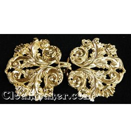 Leaf and Scroll Cloak Clasp - Gold Tone Plated