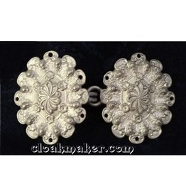 Floral Oval Cloak Clasp - Vertical - Silver Tone Plated