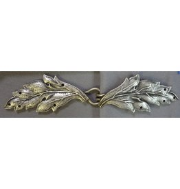 Leaf Double Curved Cloak Clasp - Antique Silver Tone Plated