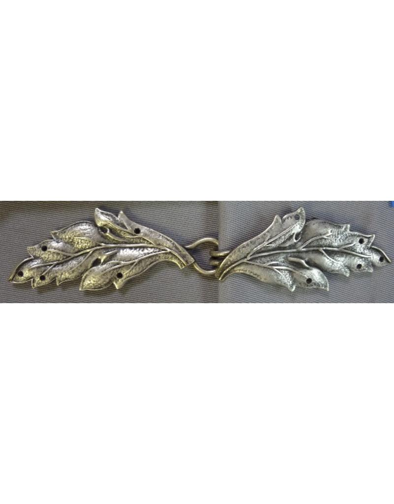 Cloak and Dagger Creations Leaf Double Curved Cloak Clasp - Antique Silver Tone Plated
