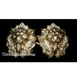 Lion Crowned Heads Cloak Clasp - Jewelers Bronze