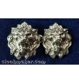 Lion Crowned Heads Cloak Clasp - Silver Tone Plated