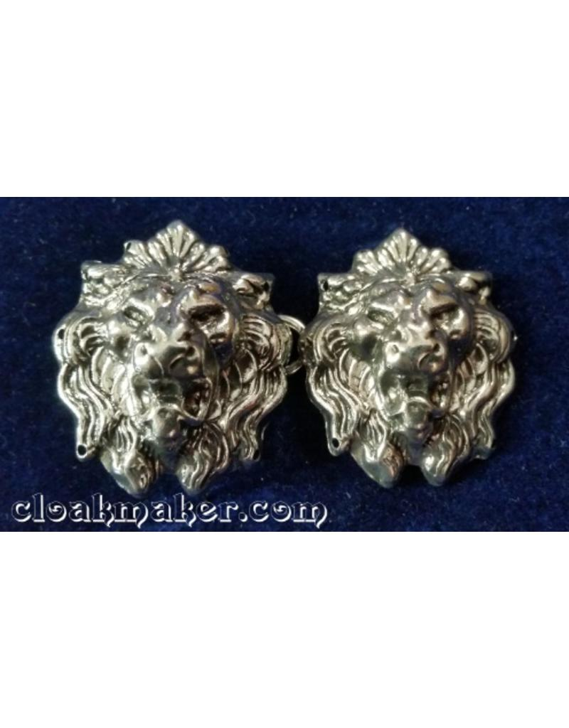 Cloak and Dagger Creations Lion Crowned Heads Cloak Clasp - Silver Tone Plated