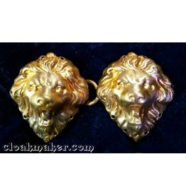 Cloak and Dagger Creations Lion Heads, Small Cloak Clasp - Jewelers Bronze