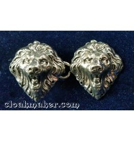 Lion Heads, Small Cloak Clasp - Silver Tone Plated