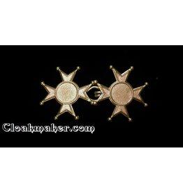 Maltese Cross Cloak Clasp - Small - Jewelers Bronze