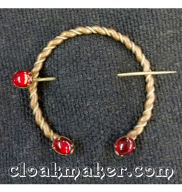 Red Oval Glass Penannular, Medium