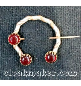 Red Round Glass Penannular, Small